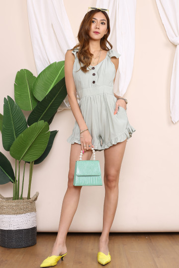 MARY JANE BUTTON UP ROMPER (DUSTY TEAL) image