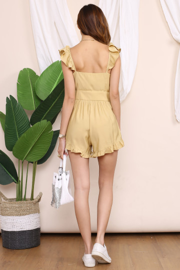 MARY JANE BUTTON UP ROMPER (DAFFODIL YELLOW) image