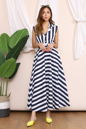 ELLA BIG ON STRIPES DRESS (NAVY BLUE WHITE) image