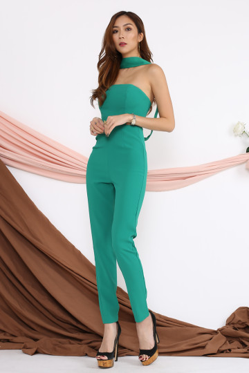 TAYLOR CUT-OUT JUMPSUIT (KELLY GREEN)(PREMIUM) image