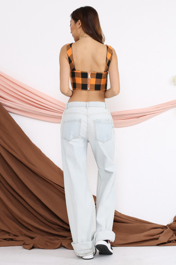 FRINE GINGHAM BRALET (ORANGE) image