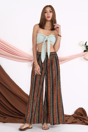 DANI TRIBAL WIDE-LEG PANTS (BROWN)(BACKORDER) image
