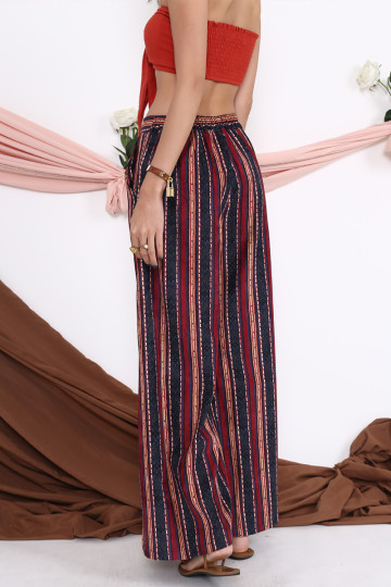 DANI TRIBAL WIDE-LEG PANTS (SANGRIA RED)(BACKORDER) image