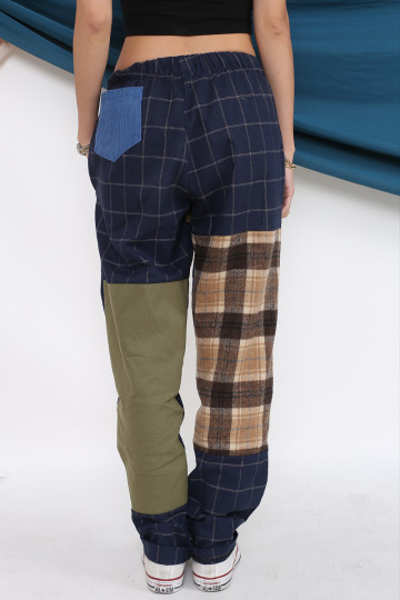 PEYLA PATCHWORK PANTS (BROWN)(PREMIUM) image