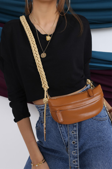 2-WAY ROPE STRAP BAG (LATTE BROWN)(BACKORDER) image