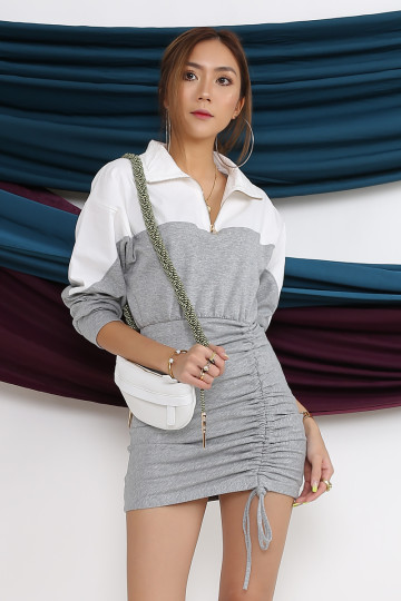 SPORTY CHIC DRESS (GRAY) image