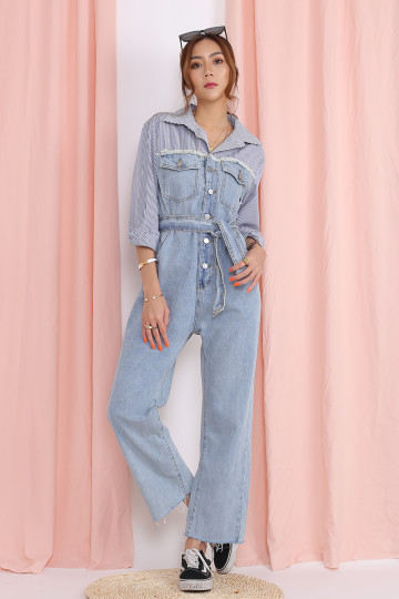 EMMA DENIM JUMPSUIT (STRIPES)(PREMIUM) image
