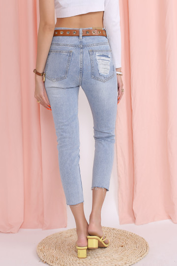 CUFF OUT BASIC DENIM JEANS image