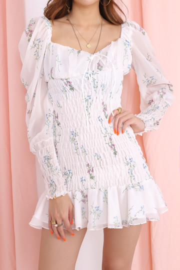 GARDEN FLORAL RUCHING DRESS (PREMIUM) image