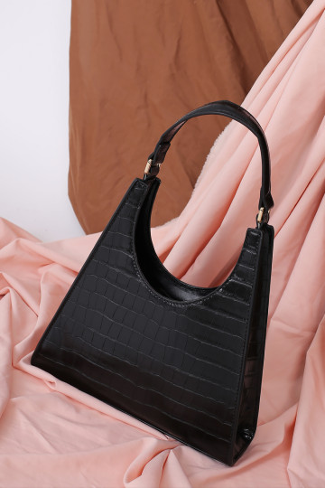 ANGULAR STRUCTURED FAUX LEATHER BAG (BLACK) image