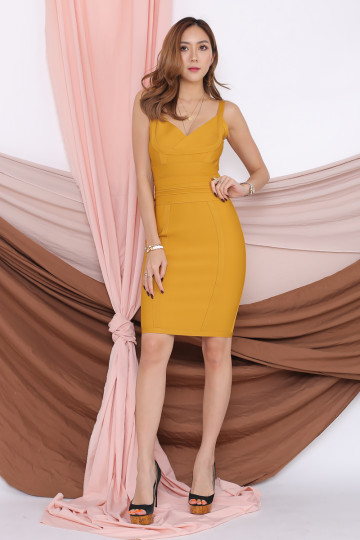 TIMELESS WORK BANDAGE DRESS (MUSTARD)(PREMIUM) image