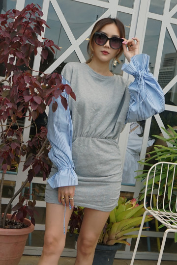 SWEATER CHIC DRESS (GRAY) image