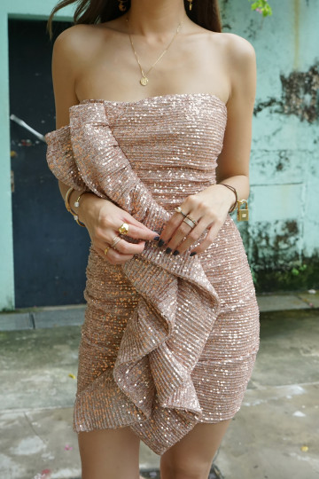 SELENE RUFFLED SEQUIN DRESS (ROSE GOLD)(PREMIUM)(BACKORDER) image