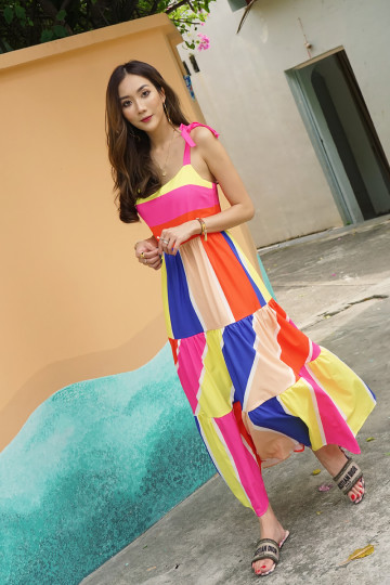 RAVEL RAINBOW MAXI DRESS (PREMIUM)(BACKORDER) image
