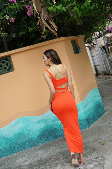 CUT-OUT BODYCON 2-PIECE SET (ELECTRIC ORANGE)(PREMIUM) image