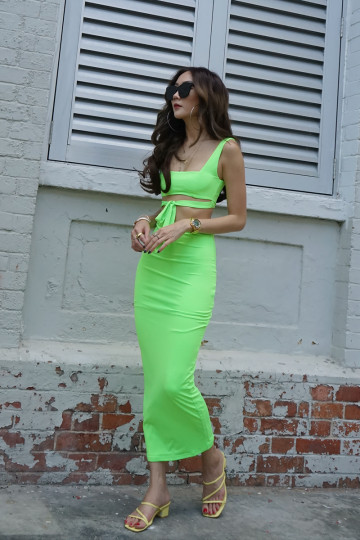 STACY'S TWO-PIECE BODYCON DRESS (LIME GREEN) image