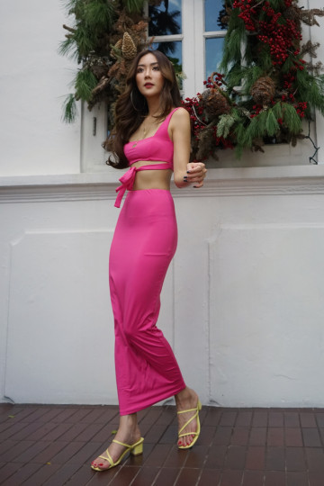 STACY'S TWO-PIECE BODYCON DRESS (HOT PINK) image
