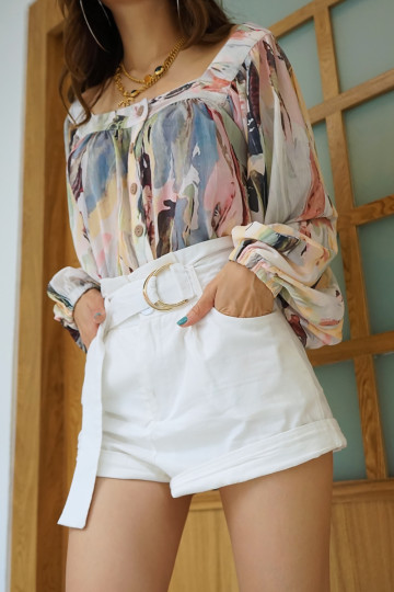 ABSTRACT STROKES BLOUSE (PREMIUM)(BACKORDER) image