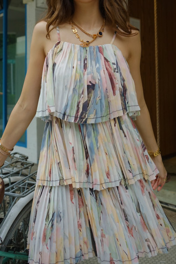 ABSTRACT STROKES PLEATED DRESS (PREMIUM) image