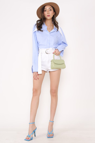 BEVERLY POINTED COLLAR SHIRT (BLUE WITH WHITE COLLAR)(PREMIUM) image