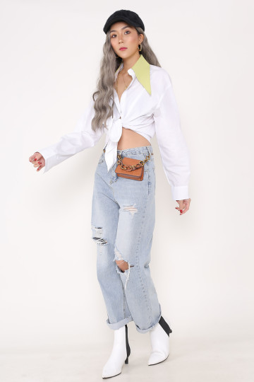 BEVERLY POINTED COLLAR SHIRT (WHITE WITH GREEN COLLAR)(PREMIUM) image
