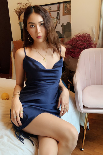 COWL NECK DRESS (NAVY BLUE)(BACKORDER) image