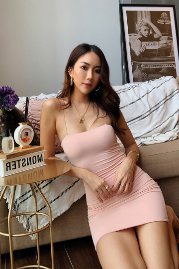 BASIC KY BODYCON DRESS (MILK PINK)(BACKORDER) image