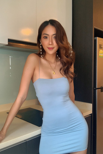 BASIC KY BODYCON DRESS (STONE BLUE)(BACKORDER) image