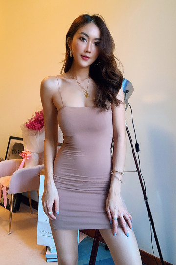 BASIC KY BODYCON DRESS (CAFFE LATTE)(BACKORDER) image