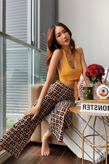 GILI VINTAGE PRINTED PANTS (YELLOW BRICK) image